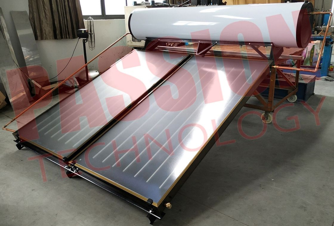 300L White Tank Pressurized Flat Plate Solar Water Heater, Blue Titanium Flat Collector