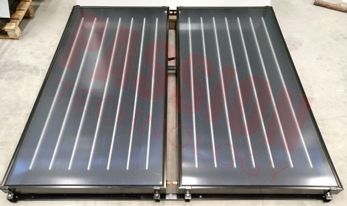 Black Frame Flat Plate Solar Collector For Pool Blue Absorb Solar Heating Water